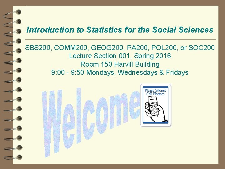 Introduction to Statistics for the Social Sciences SBS