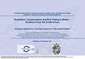 De Nederlandsche Bank Corporate Governance Insights Center University