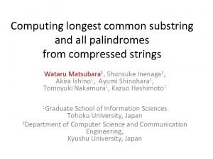 Computing longest common substring and all palindromes from