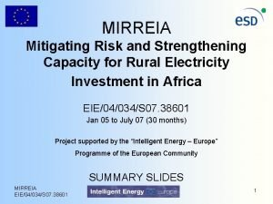 MIRREIA Mitigating Risk and Strengthening Capacity for Rural