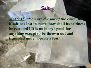 Salt Mat 5 13 You are the salt