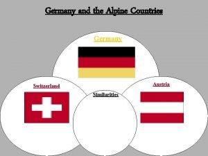 Germany and the Alpine Countries Germany Austria Switzerland