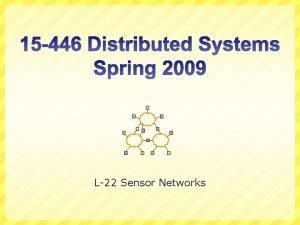 L22 Sensor Networks Overview Ad hoc routing Sensor