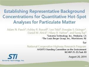 Establishing Representative Background Concentrations for Quantitative HotSpot Analyses