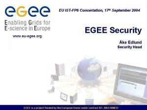 EU ISTFP 6 Concertation 17 th September 2004