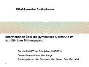HittorfGymnasium Recklinghausen Informationen ber die gymnasiale Oberstufe im