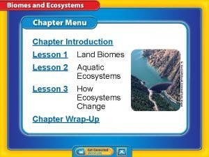 Chapter Introduction Land Biomes Lesson 2 Aquatic Ecosystems