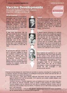 VACCINE DEVELOPMENTS CATEGORY VACCINES THERAPEUTICS Vaccine Developments Alexander