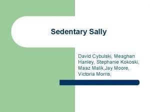 Sedentary Sally David Cybulski Meaghan Hanley Stephanie Kokoski