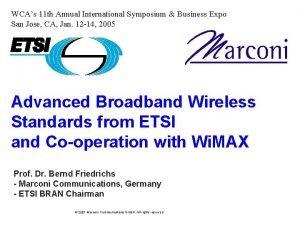 WCAs 11 th Annual International Symposium Business Expo