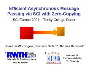 Efficient Asynchronous Message Passing via SCI with ZeroCopying