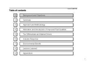 Table of contents 1 Background and Objectives 2