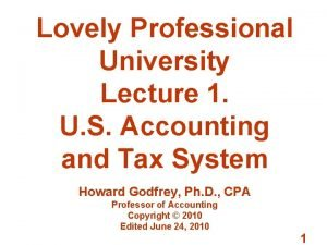 Lovely Professional University Lecture 1 U S Accounting