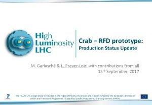 Crab RFD prototype Production Status Update M Garlasch