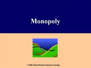 Monopoly 2003 SouthWesternThomson Learning What Is a Monopoly