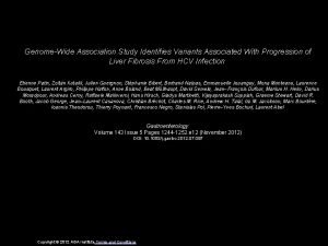 GenomeWide Association Study Identifies Variants Associated With Progression