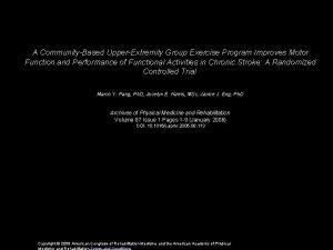 A CommunityBased UpperExtremity Group Exercise Program Improves Motor