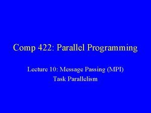 Comp 422 Parallel Programming Lecture 10 Message Passing
