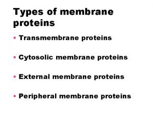 Types of membrane proteins Transmembrane proteins Cytosolic membrane