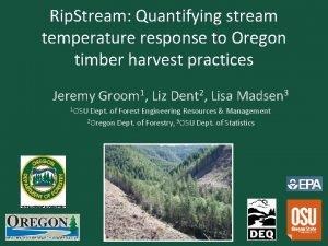 Rip Stream Quantifying stream temperature response to Oregon