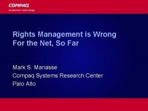 Rights Management is Wrong For the Net So