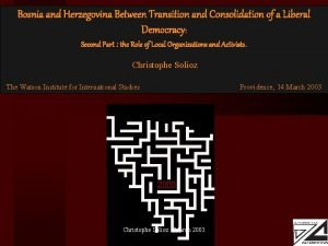 Bosnia and Herzegovina Between Transition and Consolidation of