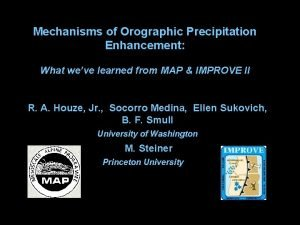 Mechanisms of Orographic Precipitation Enhancement What weve learned