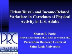 UrbanRural and IncomeRelated Variations in Correlates of Physical