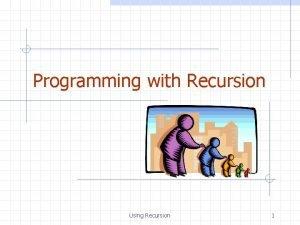 Programming with Recursion Using Recursion 1 The Recursion