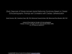 Early Diagnosis of StressInduced Apical Ballooning Syndrome Based