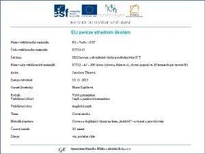 EU penze stednm kolm Nzev vzdlvacho materilu slo