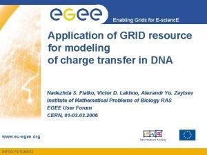 Enabling Grids for Escienc E Application of GRID