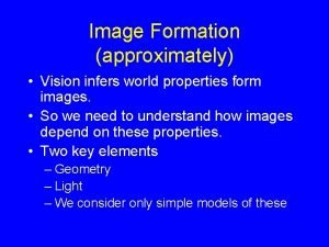 Image Formation approximately Vision infers world properties form
