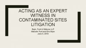 ACTING AS AN EXPERT WITNESS IN CONTAMINATED SITES