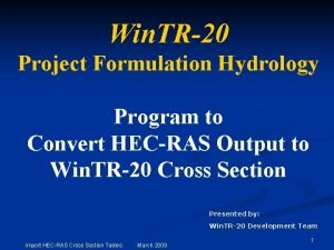 Win TR20 Project Formulation Hydrology Program to Convert