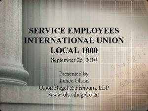 SERVICE EMPLOYEES INTERNATIONAL UNION LOCAL 1000 September 26