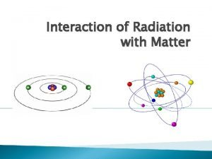 Interaction of Radiation with Matter MATTER ATOM An