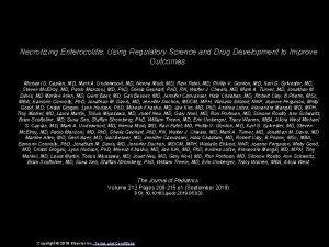 Necrotizing Enterocolitis Using Regulatory Science and Drug Development
