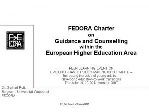 FEDORA Charter on Guidance and Counselling within the
