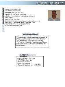 DATOS PERSONALES CURRICULUM VITAE NOMBRES MARIO JAVIER APELLIDOS