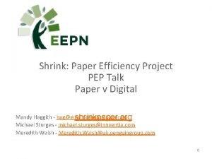 Shrink Paper Efficiency Project PEP Talk Paper v