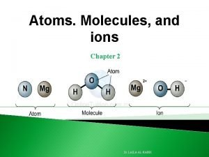 Atoms Molecules and ions Chapter 2 Dr LAILA