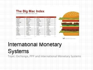 International Monetary Systems Topic Exchange PPP and International
