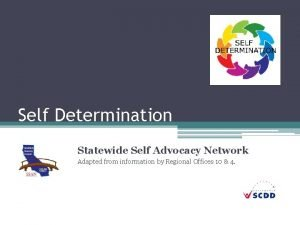 Self Determination Statewide Self Advocacy Network Adapted from