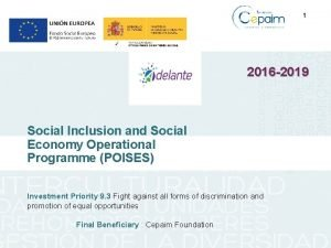 1 2016 2019 Social Inclusion and Social Economy