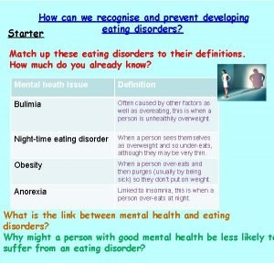 How can we recognise and prevent developing eating