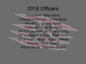 2018 Officers President Mike Ward President Pro Tem