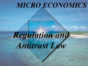 MICRO ECONOMICS Regulation and Antitrust Law Learning Objectives