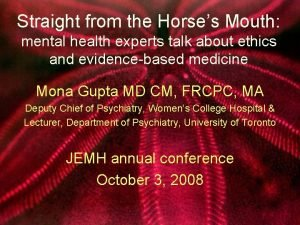 Straight from the Horses Mouth mental health experts