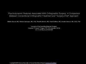 Psychodynamic Features Associated With Orthognathic Surgery A Comparison